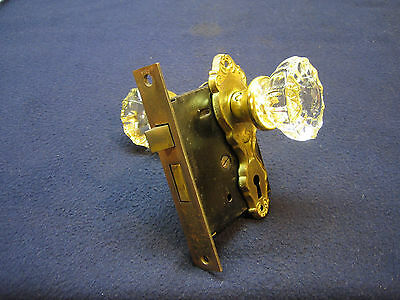 Antique Victorian Mortise Door Lock Set Classic Glass Knobs Art Deco Nouveau
