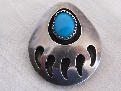Vintage Silver Turquoise Bear Paw Pendant Brooch