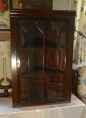 LOVELY VICTORIAN MAHOGANY GLAZED WALL HANGING CORNER CUPBOARD COMPLETE with KEY