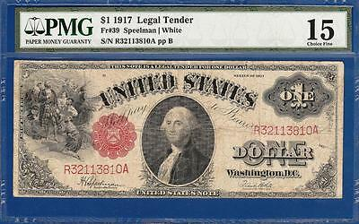 1917 $1 Red Seal Legal Tender Note Fr. 39 - PMG Choice Fine 15 - C2C