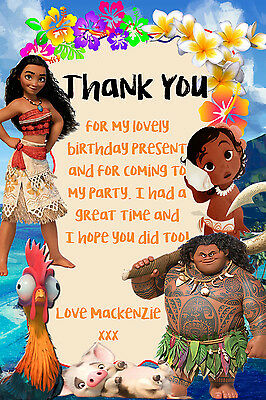 Personalised Disney Princess Moana Birthday Party Thank You Cards +envelopes MTY