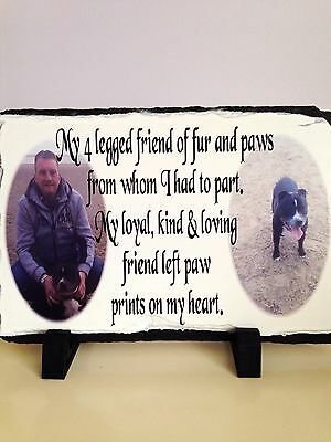 Pet Memorial Decorative Slate - Dog, Cat - New - Handmade