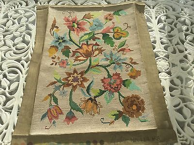 "Large Completed Tapestry Cushion Front 22"" X 15"" Jacobean Style"