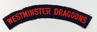 WESTMINSTER DRAGOONS WW2 Embroidered Shoulder Title Badge