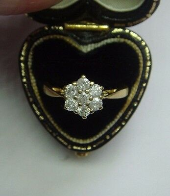 A Vintage 0.50 Ct Diamond Cluster Ring In Solid 18Ct Yellow Gold Size L 1/2 Us 6