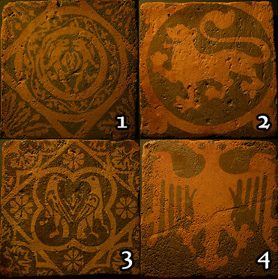 Handmade encaustic style tiles engraved with Medieval designs - various designs