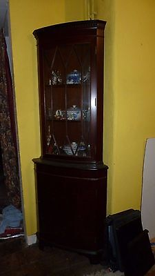 Antique Style Bow Fronted Glazed Corner Display Cabinet