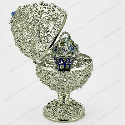 "4,7"" Silver Filigree Egg Trinket Box St-Petersburg Russian Faberge Traditions"
