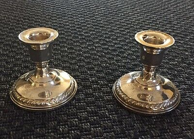 Pair Two Vintage Columbia Sterling Silver Candle Holders Candlestick Weighted