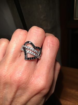 """25 Wholesale Silver Costume Jewellery """"solid silver """" diamante heart bling rings"""