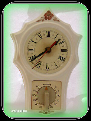 Vintage Porcelain Kitchen Clock With Timer, Cirka 1960 Made In Poland