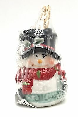 Toothpick Holder Ceramic Christmas Snowman Top Hat  with Toothpicks New