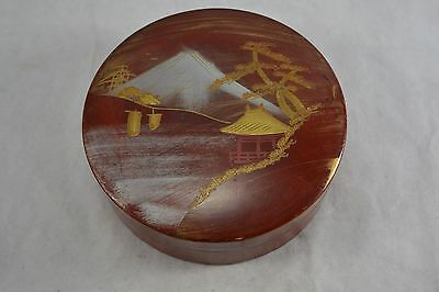 JAPANESE red lacquer box c.1930s VINTAGE jewellery trinkets Mount Fuji round