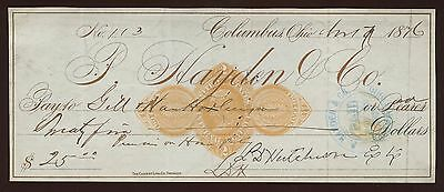 Revenue Stamped Paper Bank Check~Columbus,Ohio~RN-D1~1876