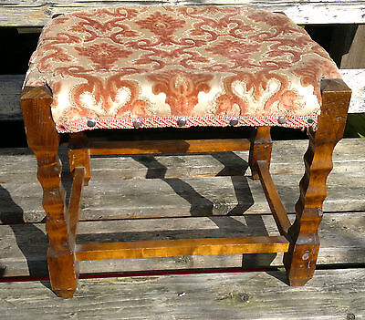 Antique/Vintage Foot Stool Covered Rush Seated Stool