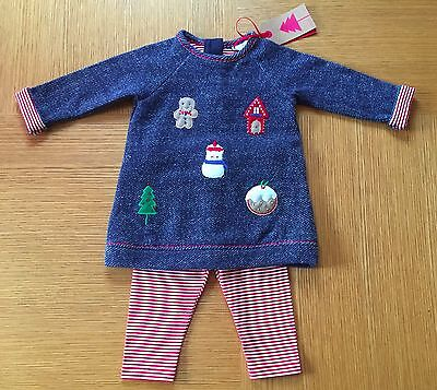 Next Girls Navy Xmas Print Warm Dress With Leggings Size Newborn Bnwt