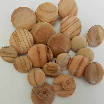 5x wooden round buttons shank on back 16mm 18mm 20mm & 22mm