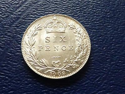 Great Britain - Edward Vii Silver Sixpence 1908 Lustrous Aef