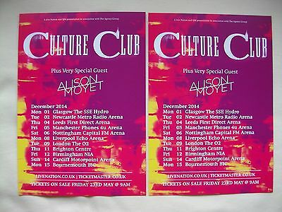 CULTURE CLUB/Boy George Live in Concert 2014 UK Arena Tour Promo card flyers x 2
