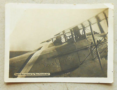 """WW1 Original Photo of French Ace Captain Guynemer is his SPAD """"Vieux Charles"""""""