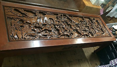 collectable vintage oriental carved coffee table with drawer 152x61x47cm