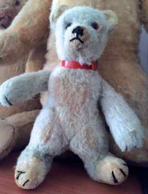 1930 Rare Blue Chad Valley Teddy Bear With Red Collar