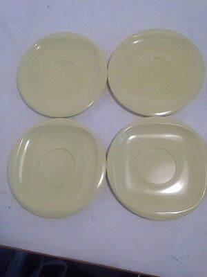 Vintage MELMAC Boonton 4 Yellow melamine saucers 1202-6 Made in USA