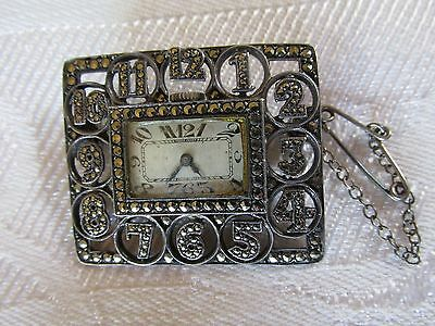 The Best ! Vintage Deco Silver Marcasite Watch Brooch Pin Numbers Around Case