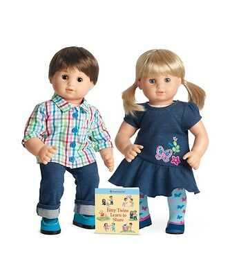 ❤️ NEW ~ American Girl Bitty Twins Brown Hair Boy And Blonde Girl SET ❤️