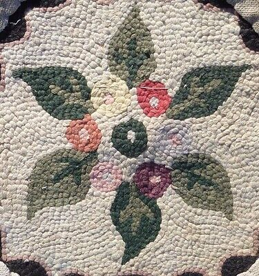 """Antique Victorian Hooked FLORAL CAMELLIA Chair Pad Mat Seat Cover Wool 14"""" rug"""
