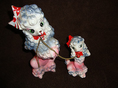 Vintage Ucagco Gray and Pink Poodle and Pup on Chain Dog Figurines