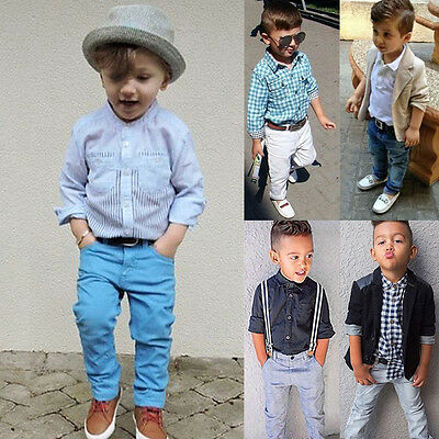 Toddler Kid Baby Boys Gentleman Outfits Formal Party Top Shirt Coat Pants Outfit