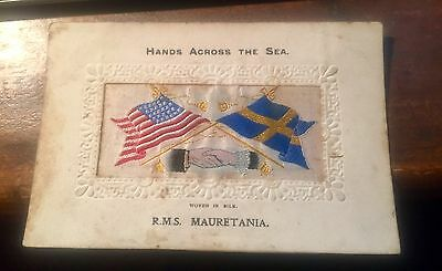 Hands Across the Sea Woven Silk ribbon from T Stevens. RMS Mauretania
