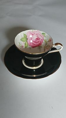 Aynsley Corset Shape Cabbage Rose BLACK Cup And Saucer Set - Excellent Condition