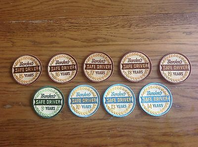 Lot Of 9 Different Vintage Borden's Dairy Safe Driver Anniversary Patches