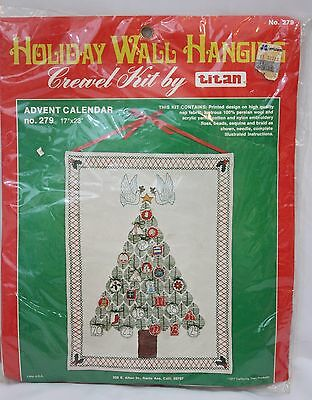 NEW VTG Advent Calendar Crewel Kit by Titan Holiday Wall Hanging Sealed 279