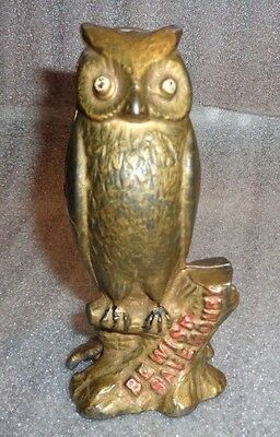 antique be wise owl painted cast iron still bank
