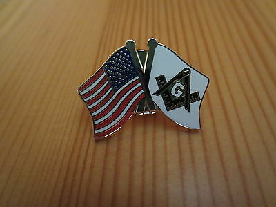 Masonic Lapel Pins Badge Flag Freemason B39 USA and Mason Crossed Friendship