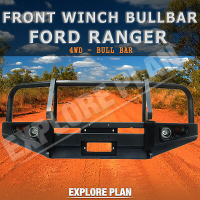 FORD RANGER Front Winch AIRBAG Compatible Bullbar Steel Lights