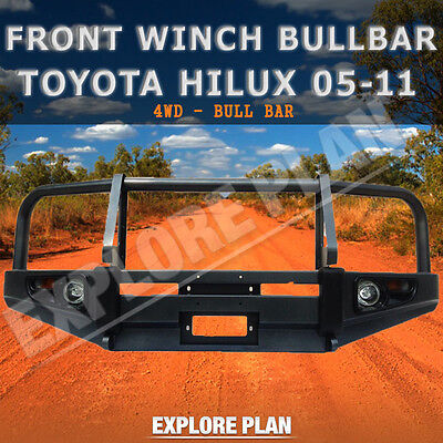 Toyota Hilux 05-11 Front Winch AIRBAG Compatible Bullbar Steel Lights