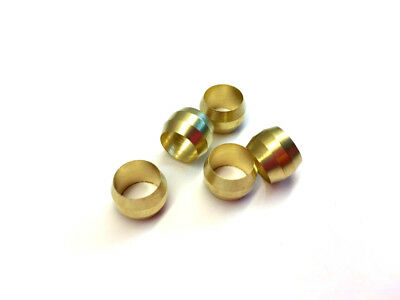 "Ф5/16"" ID Brass Olive Barrel Compression Sleeve Ferrule Ring NPT Soft Copper 5pc"