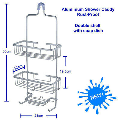 Aluminium Shower Caddy, 2 Tiers shelf with soap dish rack, Stainless, Rust-proof