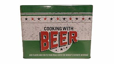 Cooking with Beer 99 Recipe Card Collection In Tin Box - Gift Uncle Dad Men Man