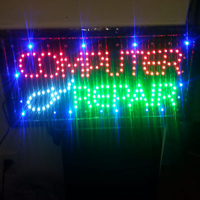 Led Animated Light Computer Repair Business Sign - Brand New!
