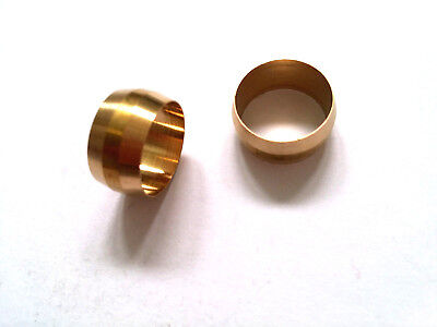 "Ф1/2"" ID Brass Olive Barrel Compression Sleeve Ferrule Ring NPT Soft Copper 2pcs"