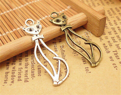 10//50pcs Lot DIY Tibetan Silver Beautiful Spoon Charm Pendant 63x14mm A836C