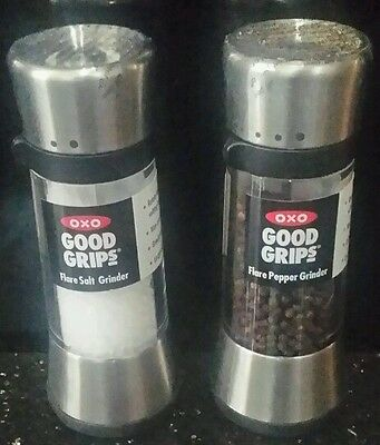 oxo tall flare salt & pepper mill grinder NEW brushed nickel stainless steel