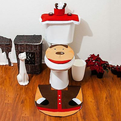 Christmas Xmas Decoration Reindeer Toilet Seat Cover Rug & Tissue Box Cover Set