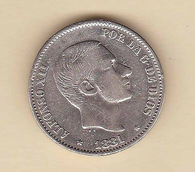 SPAIN Philippines Alfonso XII 50 centavos 1881 SILVER