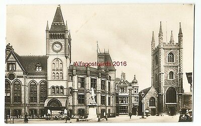 Berkshire Reading Town Hall and Church Real Photo Vintage Postcard 19.11